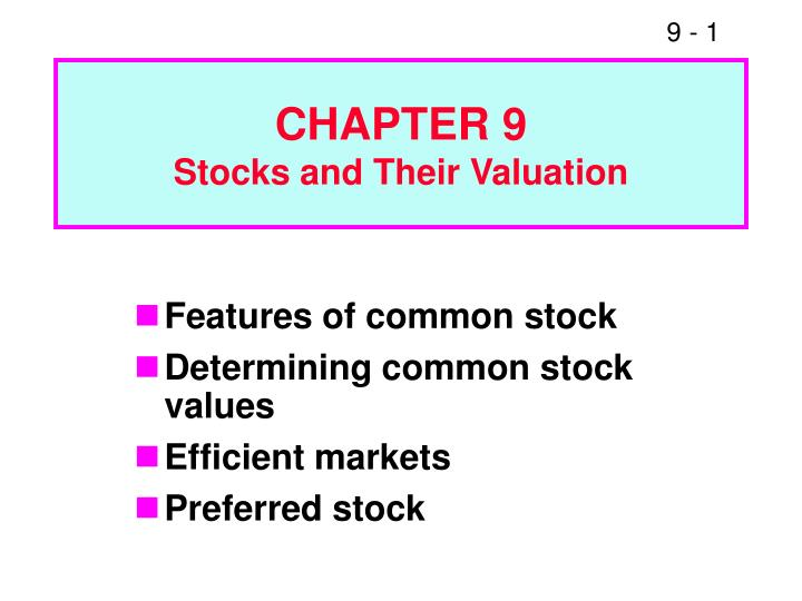 chapter 9 stocks and their valuation n.