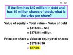 if the firm has 40 million in debt and has 10 million shares of stock what is the price per share