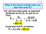 what is the stock s market value one year from now p 1
