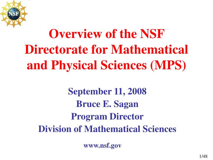 overview of the nsf directorate for mathematical and physical sciences mps n.
