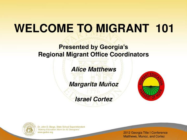 welcome to migrant 101 n.
