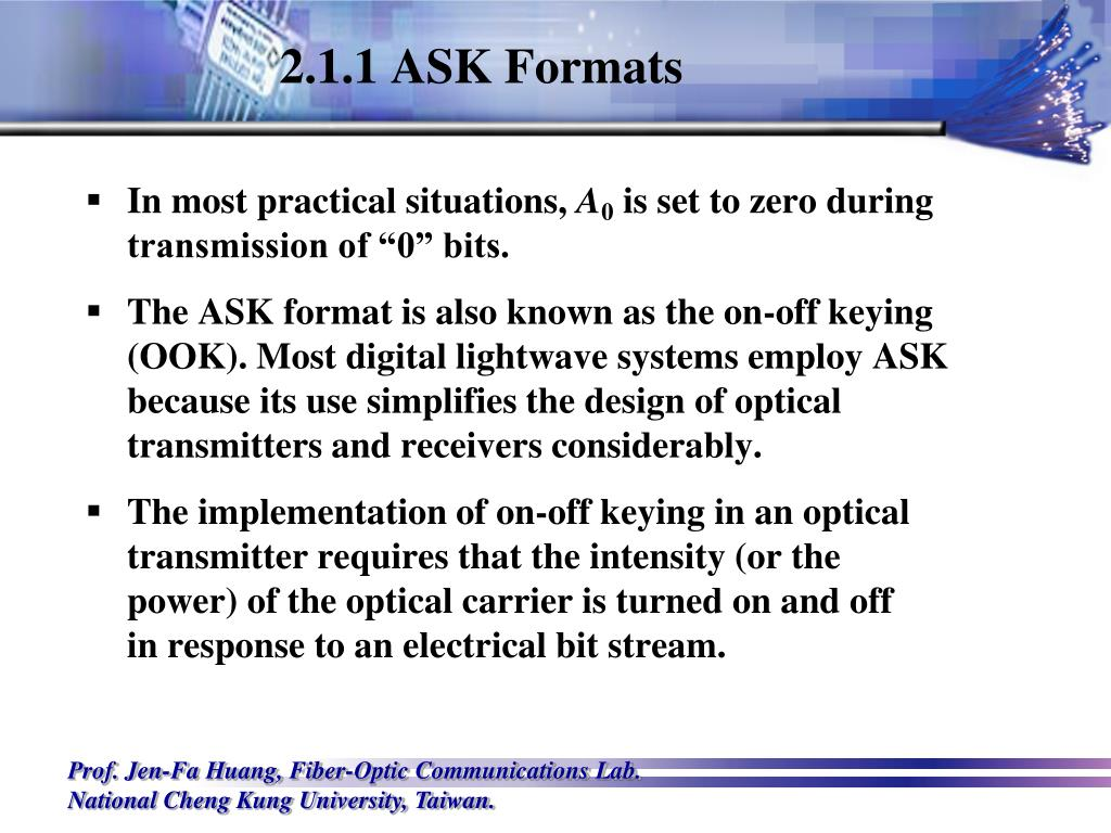 2.1.1 ASK Formats