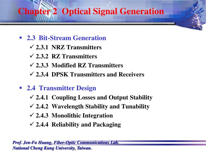 Chapter 2  Optical Signal Generation