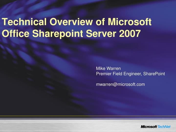 technical overview of microsoft office sharepoint server 2007 n.