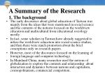 a summary of the research 1 the background