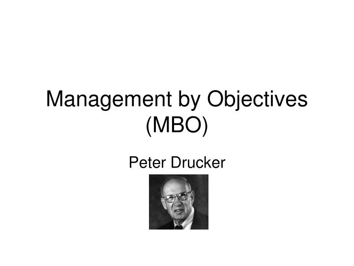 management by objectives mbo n.