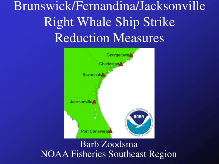 Brunswick fernandina jacksonville right whale ship strike reduction measures