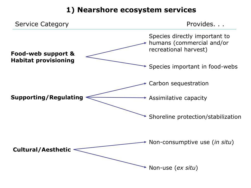 1) Nearshore ecosystem services