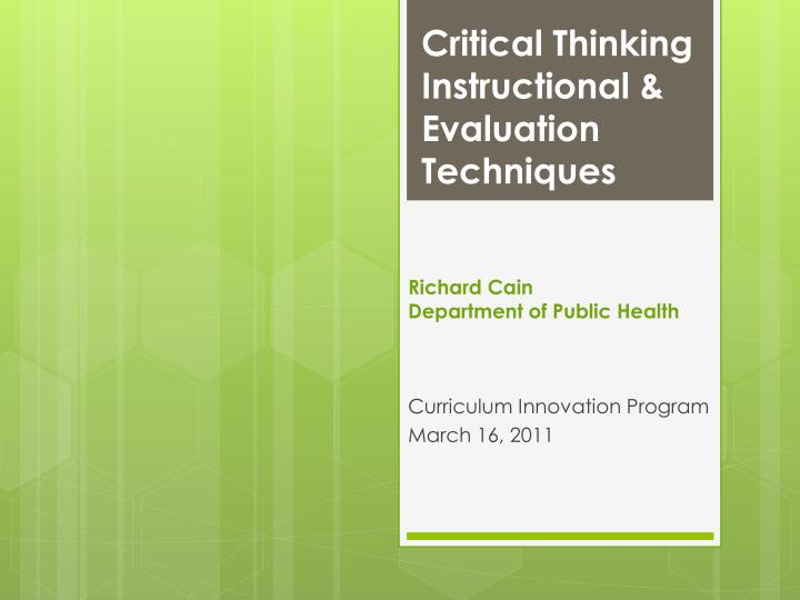 critical thinking instructional evaluation techniques n.