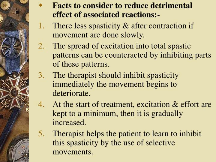 Facts to consider to reduce detrimental effect of associated reactions:-
