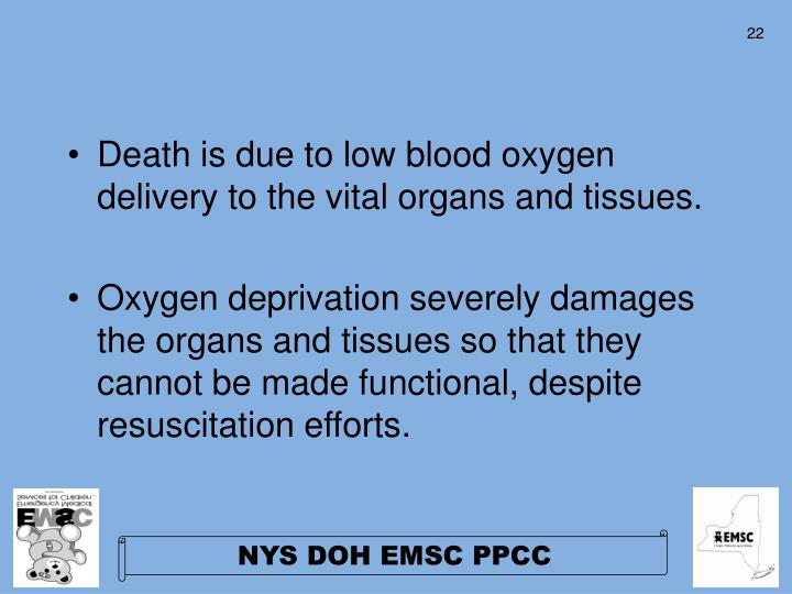 Death is due to low blood oxygen delivery to the vital organs and tissues.