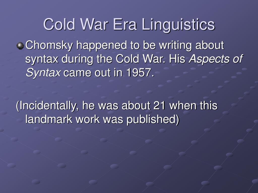 Cold War Era Linguistics