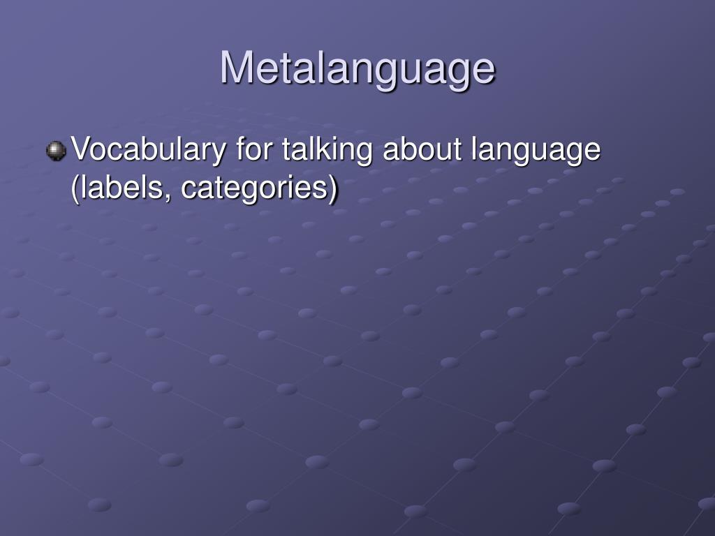 Metalanguage