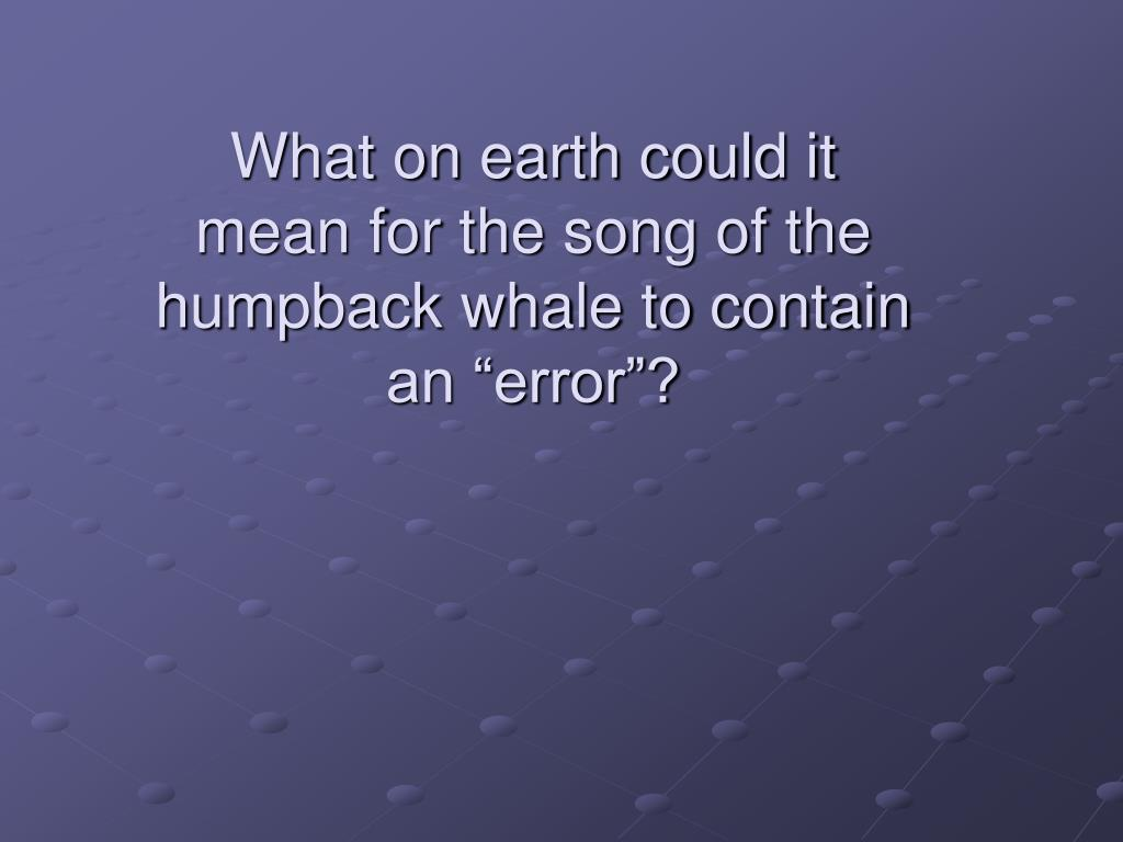 """What on earth could it mean for the song of the humpback whale to contain an """"error""""?"""