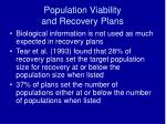 population viability and recovery plans