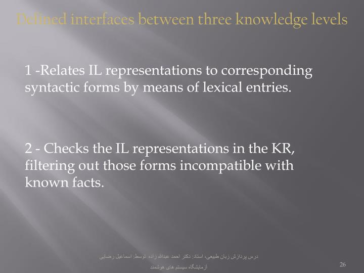 Defined interfaces between three knowledge levels