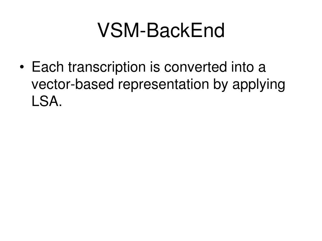 VSM-BackEnd