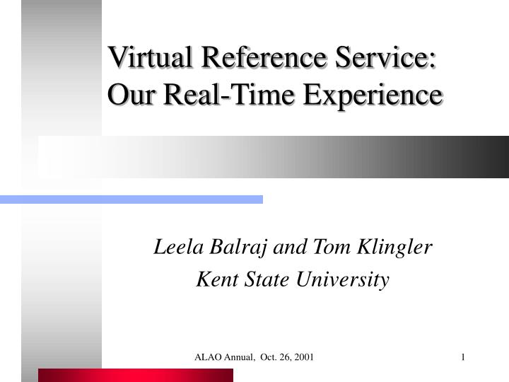 virtual reference service our real time experience n.