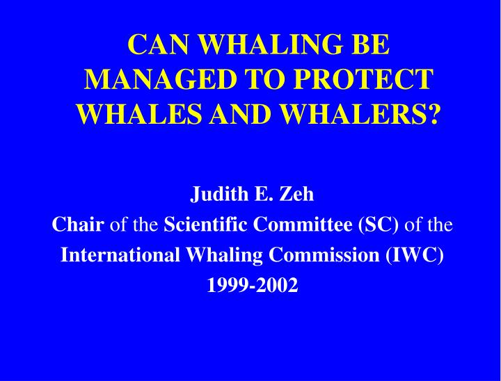 Can whaling be managed to protect whales and whalers