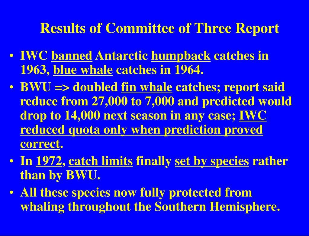 Results of Committee of Three Report