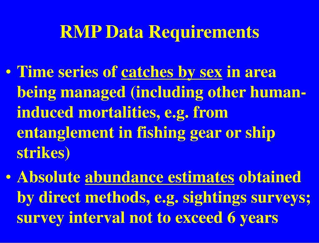 RMP Data Requirements