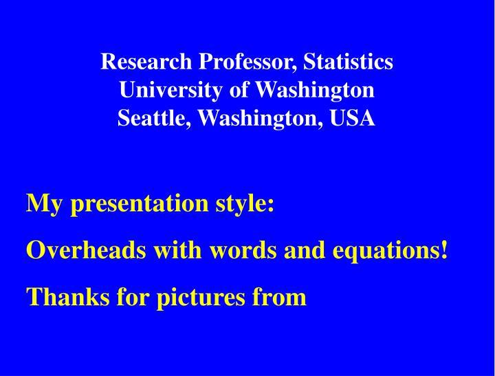 Research Professor, Statistics
