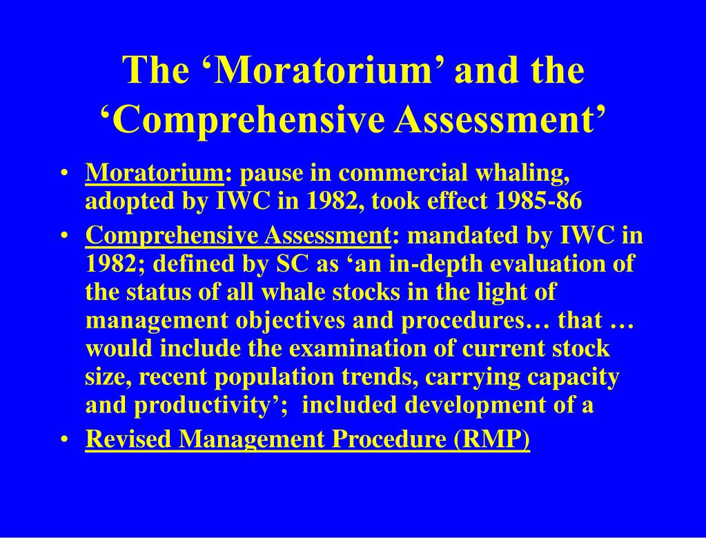 The 'Moratorium' and the 'Comprehensive Assessment'
