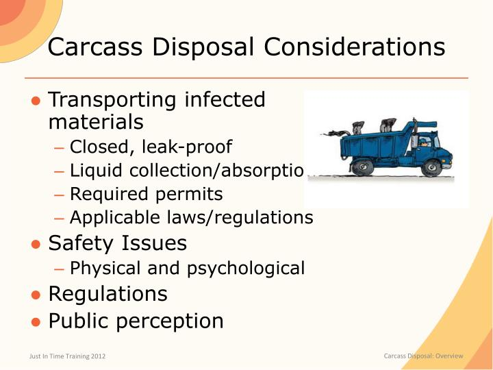 Carcass Disposal Considerations