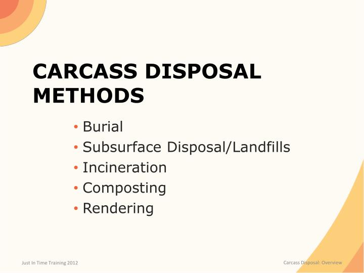 Carcass disposal methods