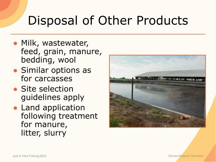 Disposal of Other Products