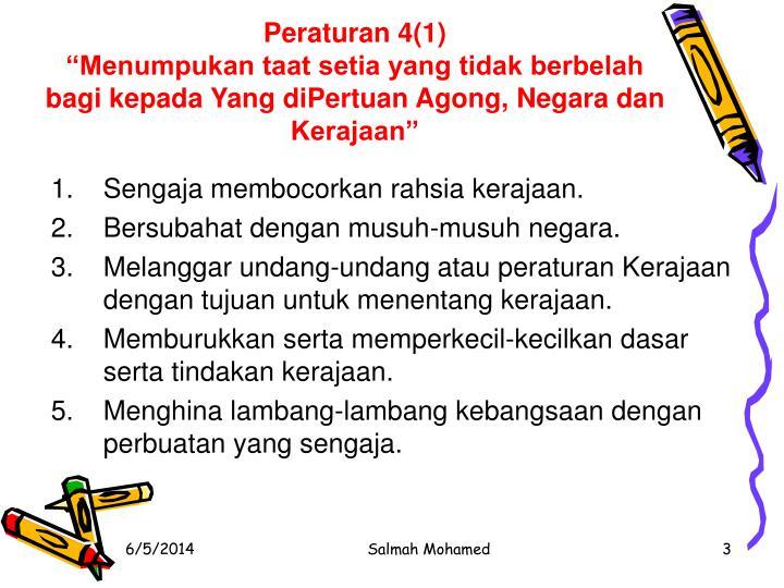 Peraturan 4(1)