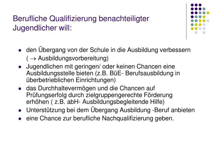 Berufliche Qualifizierung benachteiligter Jugendlicher will: