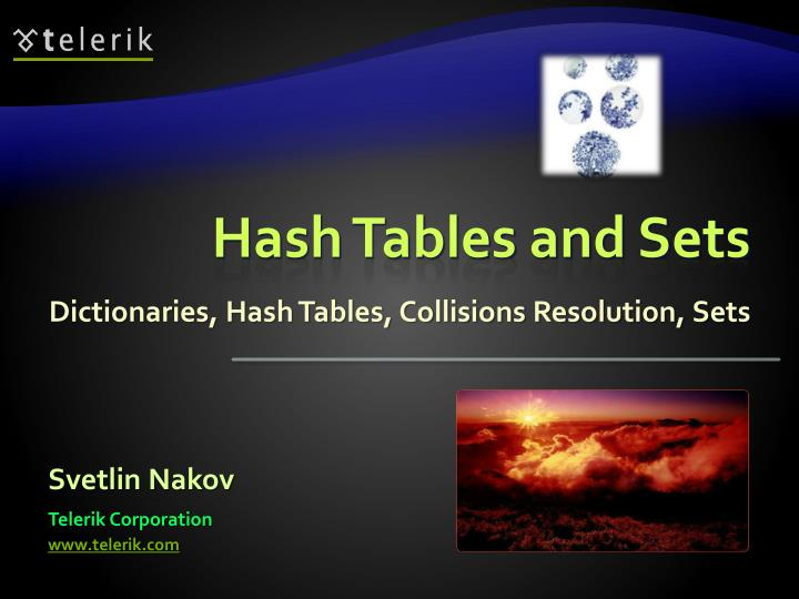 hash tables and sets n.