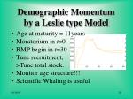 demographic momentum by a leslie type model