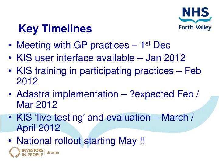 Key Timelines