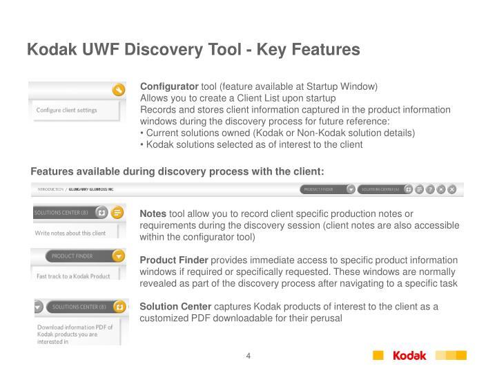 Kodak UWF Discovery Tool - Key Features