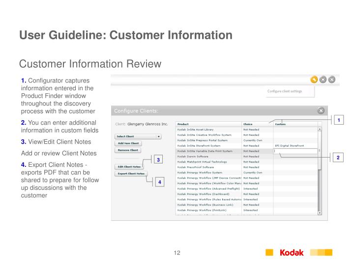 User Guideline: Customer Information