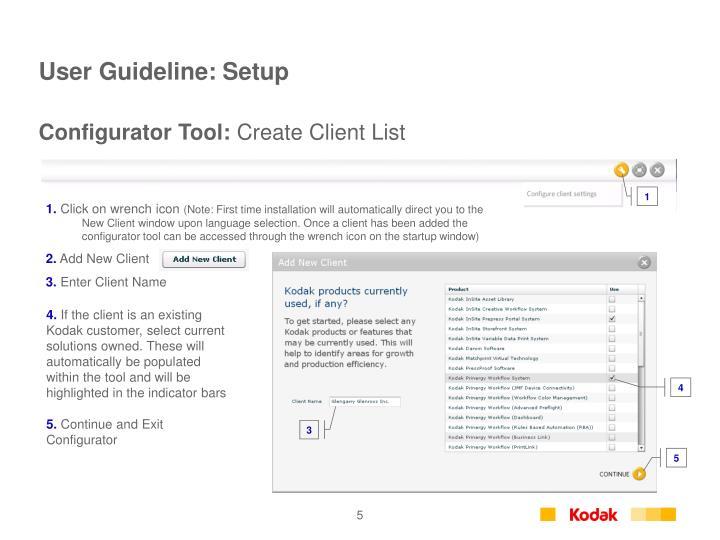User Guideline: Setup
