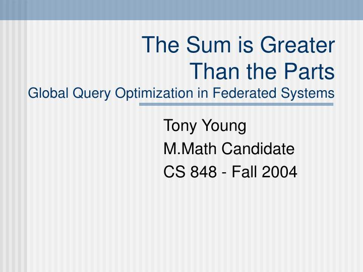 The sum is greater than the parts global query optimization in federated systems