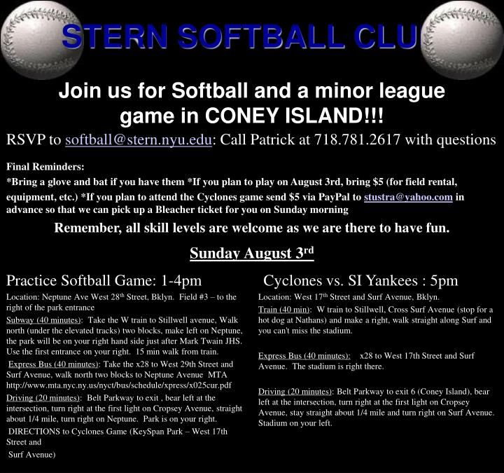 Join us for softball and a minor league game in coney island