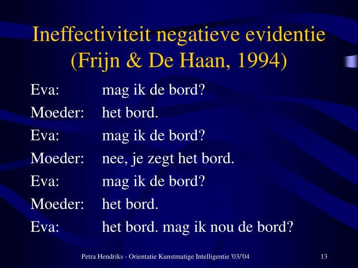 Ineffectiviteit negatieve evidentie (Frijn & De Haan, 1994)