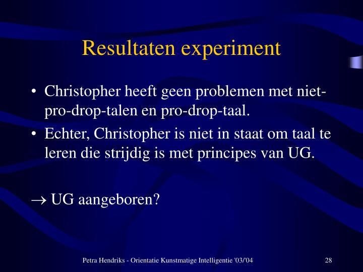 Resultaten experiment