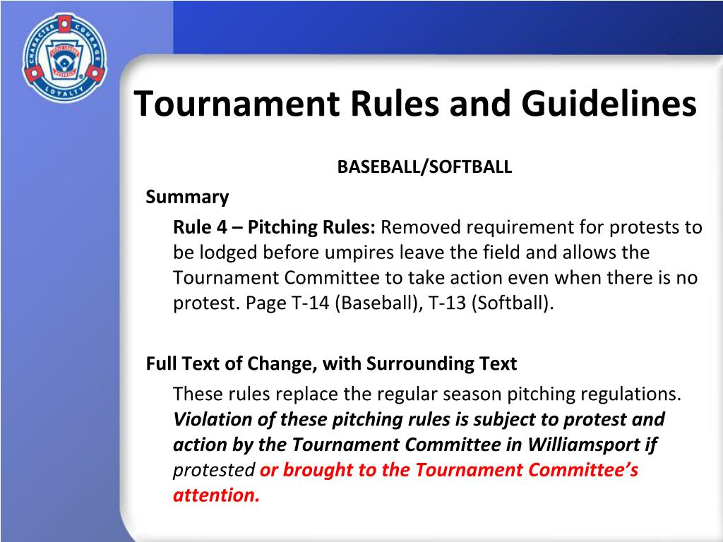 Tournament Rules and Guidelines