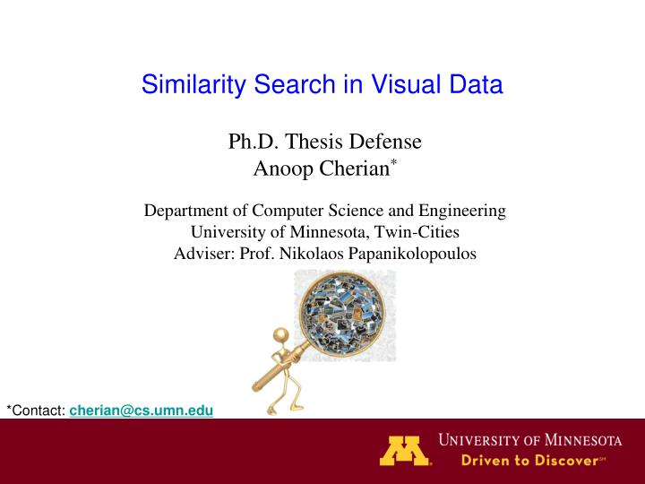 similarity search in visual data n.