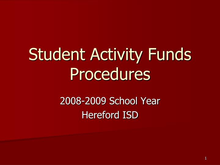 student activity funds procedures n.