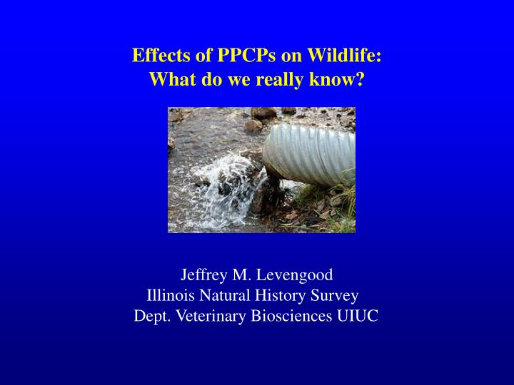 Effects of ppcps on wildlife what do we really know