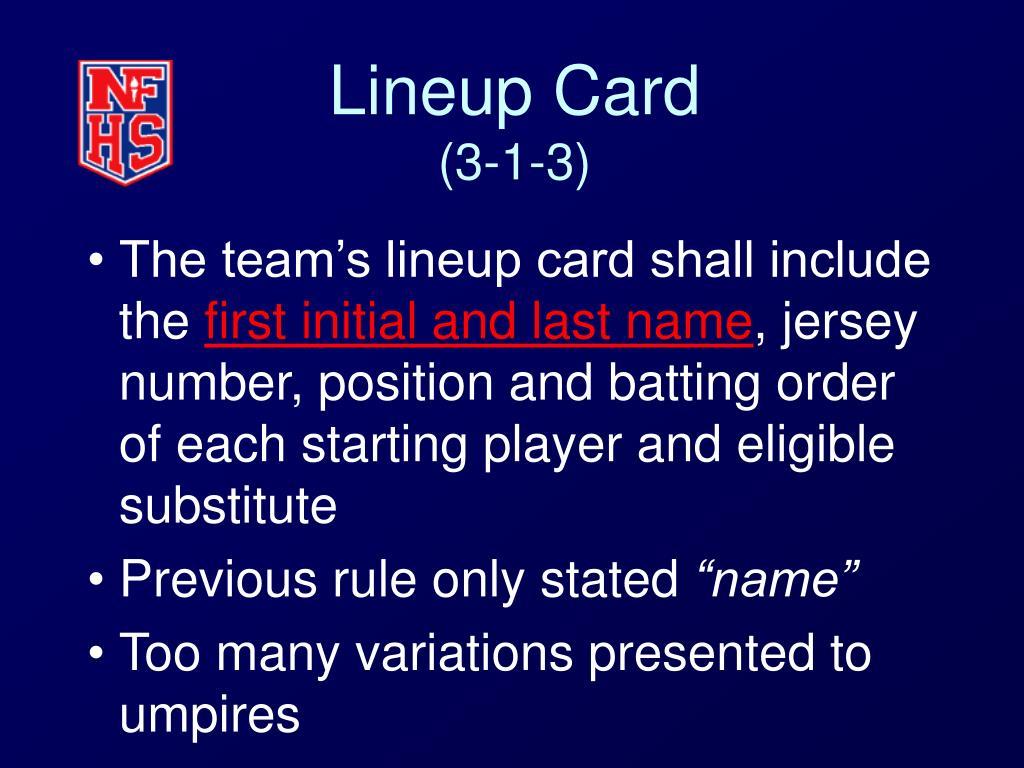 Lineup Card