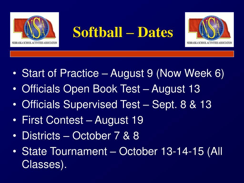 Softball – Dates