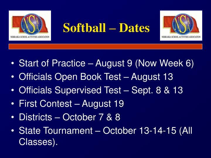 Softball dates