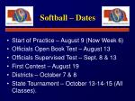 softball dates